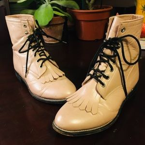 Light Pink Justin Roper Lace-up Boots